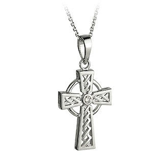 Celtic Cross Pendant 14ct White Gold with Diamond