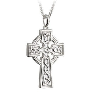 Celtic Cross & Trinity Knot Pendant Sterling Silver 30mm Double Sided S44787