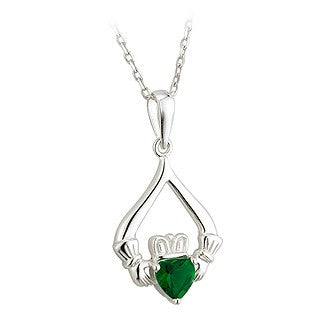 Claddagh Pendant Sterling Silver Crystal Emerald on a Chain S45364