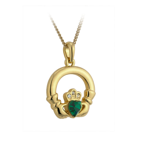 Claddagh Pendant Gold Plated with Emerald Heart S4709