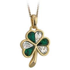 Shamrock Pendant with Green & White Crystals S4791