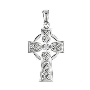 Celtic Cross Pendant Sterling Silver Double Sided with Chain S4940