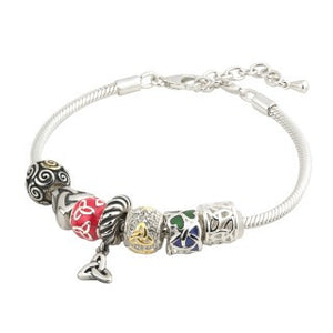 Charm Bead Bracelet European Style Sterling Silver with 7 Irish Charms