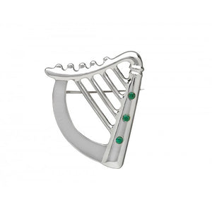 Brooch Silver Plated Celtic Harp Design