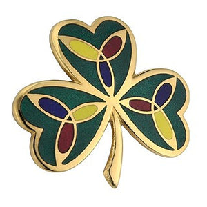 Shamrock Brooch Green Enamel 18ct Gold Plated TG1050