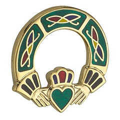 Claddagh Brooch Enamel 18ct Gold Plated TG1053GN