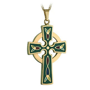 Celtic Cross Pendant Green Enamel 18K Gold Plated