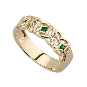 9K Gold Emerald and Cubic Ziconia Trinity Knot Ring.