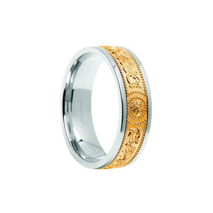 Celtic Warrior Shield Wedding Band - Narrow