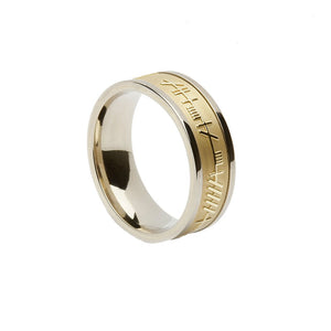 Irish Wedding Band Ogham Trinity Design Yellow Centre