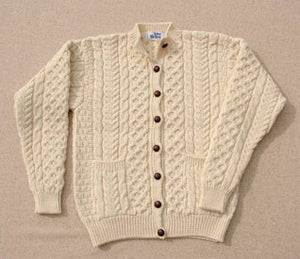 Aran Cardigan High Button Natural