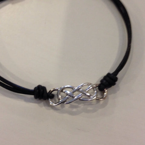 Wristband Petite Celtic Knot Sterling Silver on a Leather Band