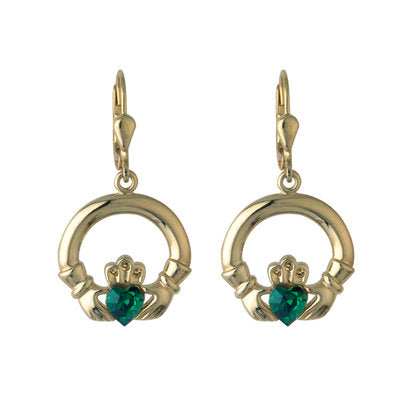 RHODIUM GREEN CRYSTAL CLADDAGH DROP EARRINGS Code: S3422