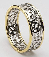 Trinty Knot Ladies Wedding Band 10ct White and Yellow Gold