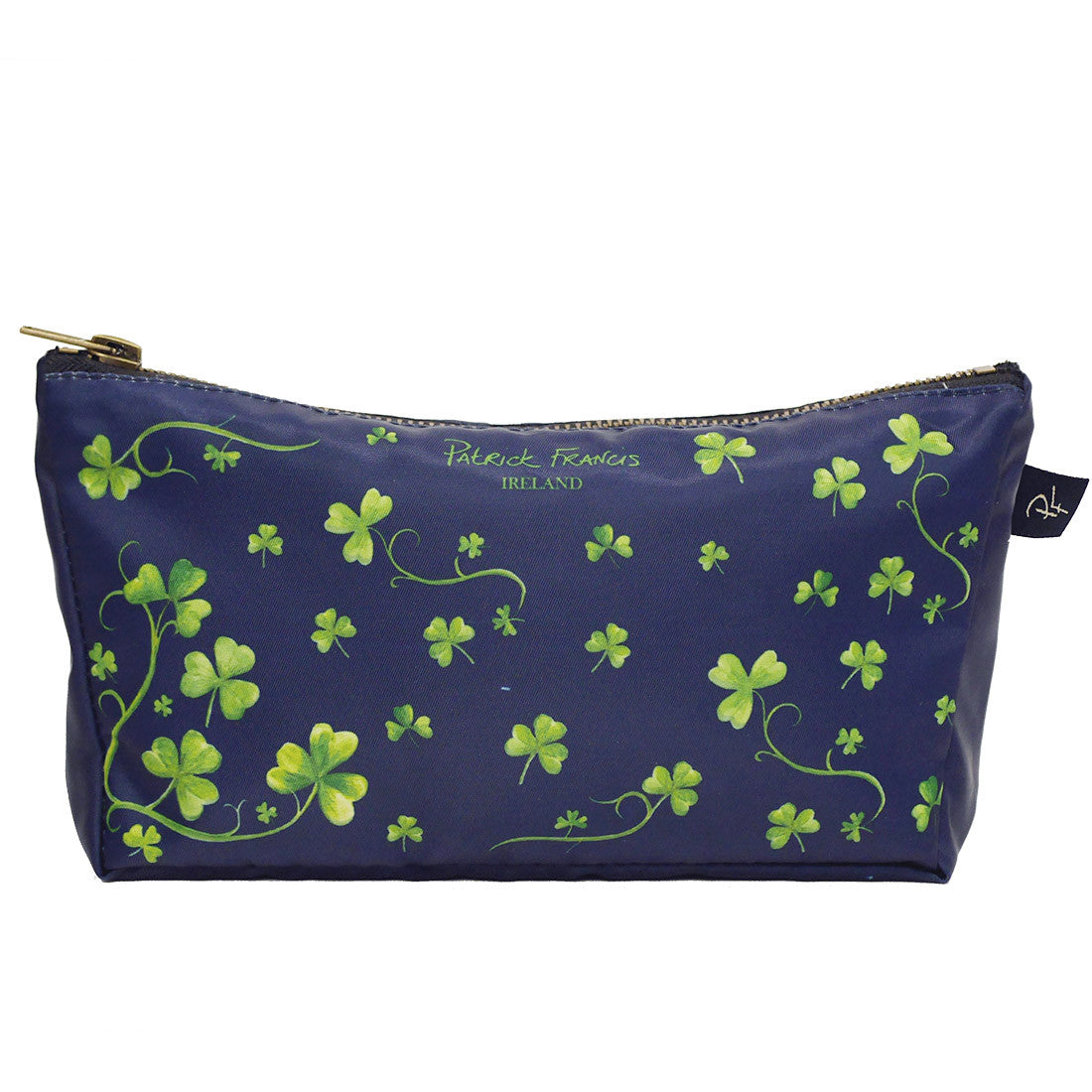 Navy coloured Green Shamrock Cosmetic Bag Patrick Francis Collection