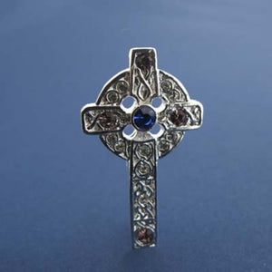 Celtic Cross Brooch  Silver Plated with Multicoloured Stones