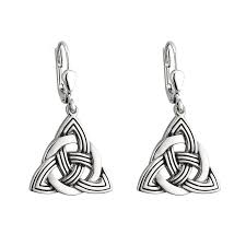 Rhodium Trinity Knot Drop Earrings