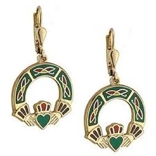 Claddagh Drop Enamelled 18ct Gold Plated Earrings TG3154/GN