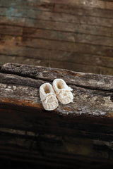 Aran Baby Booties with Bow