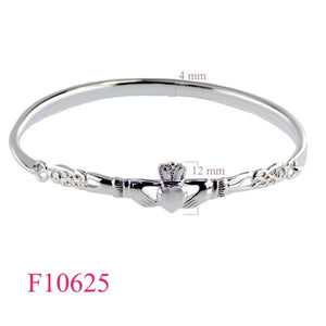 Claddagh Bangle Sterling Silver large.