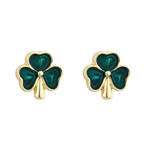 Tiny 18ct Gold Plated Enamelled Shamrock Earrings. S3210