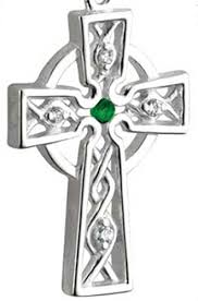 Celtic Cross Sterling Silver Synthetic Emerald.