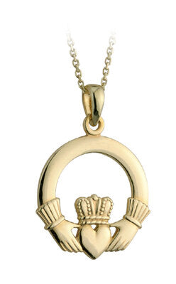 9ct Gold Large Claddagh Pendant.