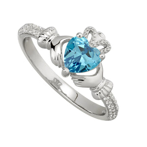 Claddagh Sterling Silver Birthstone and crystal Ring March
