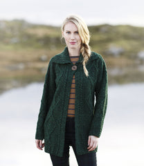 Aran Cardigan Long with One Button