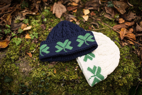 Aran Wool Hat - Cable knit with Shamrocks A754