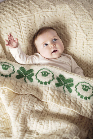 Aran Baby Blanket with Sheep & Shamrock detail