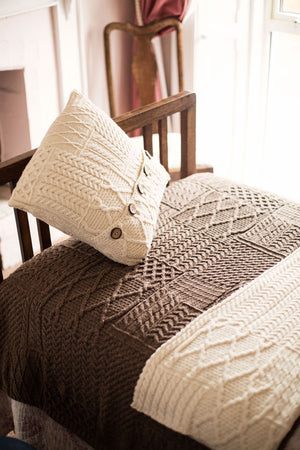 Aran Cushion Cover 100% Wool Patchwork Design with 5 Buttons