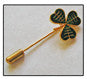 Shamrock Stick Pin Green Enamelled