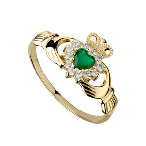 Claddagh Ring 9ct Gold with CZ and Green Agate S2298