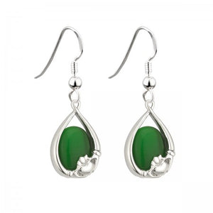 Green Glass Claddagh Oval Drop Earring