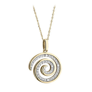 9ct Gold Diamond Swirl Pendant.