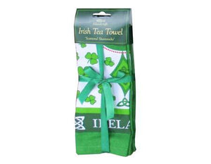 Tea Towel Cotton Scattered Shamrocks.