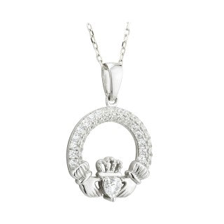 Claddagh Trinity Birthstone Pendant April Sterling Silver with Crystal Setting.