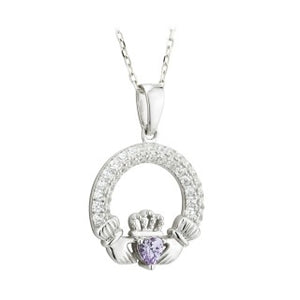 Claddagh Trinity Birthstone Pendant June Sterling Silver with Crystal Setting