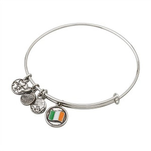 Rhodium Enamel Irish Flag Bangle