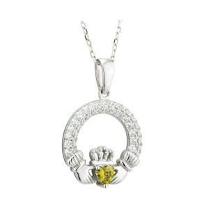 Claddagh Trinity Birthstone Pendant August Sterling Silver with Crystal Pendant