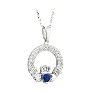 Claddagh Trinity Birthstone Pendant SeptemberSterling Silver with Stone Setting.