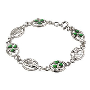 Shamrock and Claddagh Rodium Bracelet.
