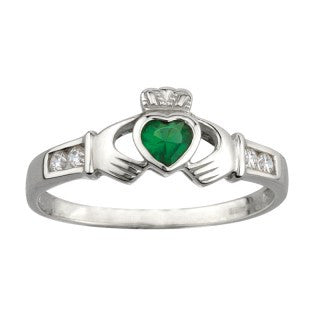 Claddagh Ring Sterling Silver with Synthetic Emerald & CZ S2594