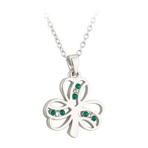 Shamrock Pendant Rhodium Plated With Crystals