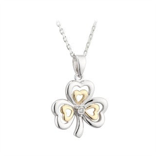 Shamrock Pendant Sterling Silver 10ct Yellow Gold with a Diamond S45783
