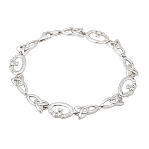 Sterling Silver Claddagh and Trinity Knot Bracelet s5748