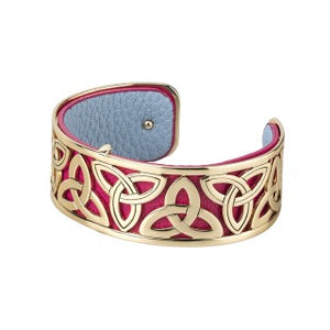 Trinity Knot Gold Plated and Leather Bangle