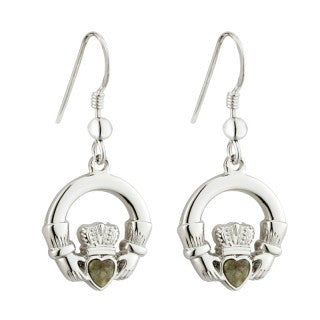 Claddagh Drop Rhodium Connemara Marble Earrings