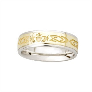Ladies 10ct Gold and Silver Claddagh Band
